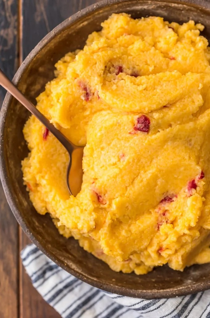 Cheese grits with pimento peppers