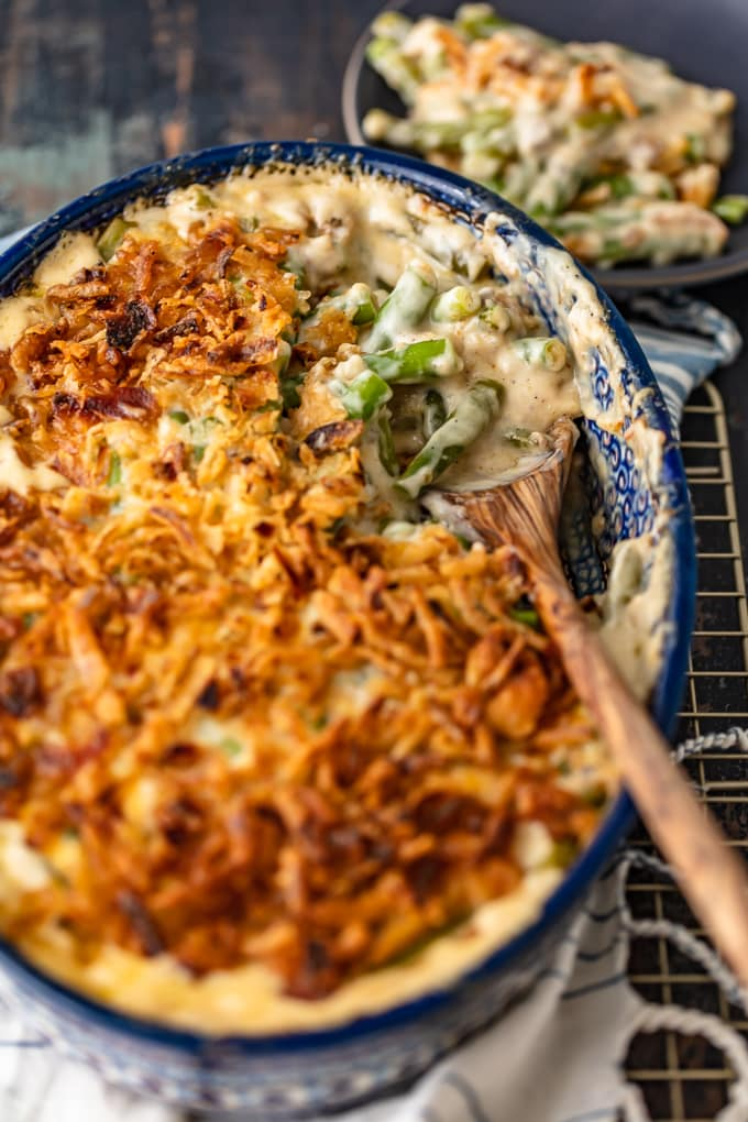 Green bean casserole topped with crunchy fried onions