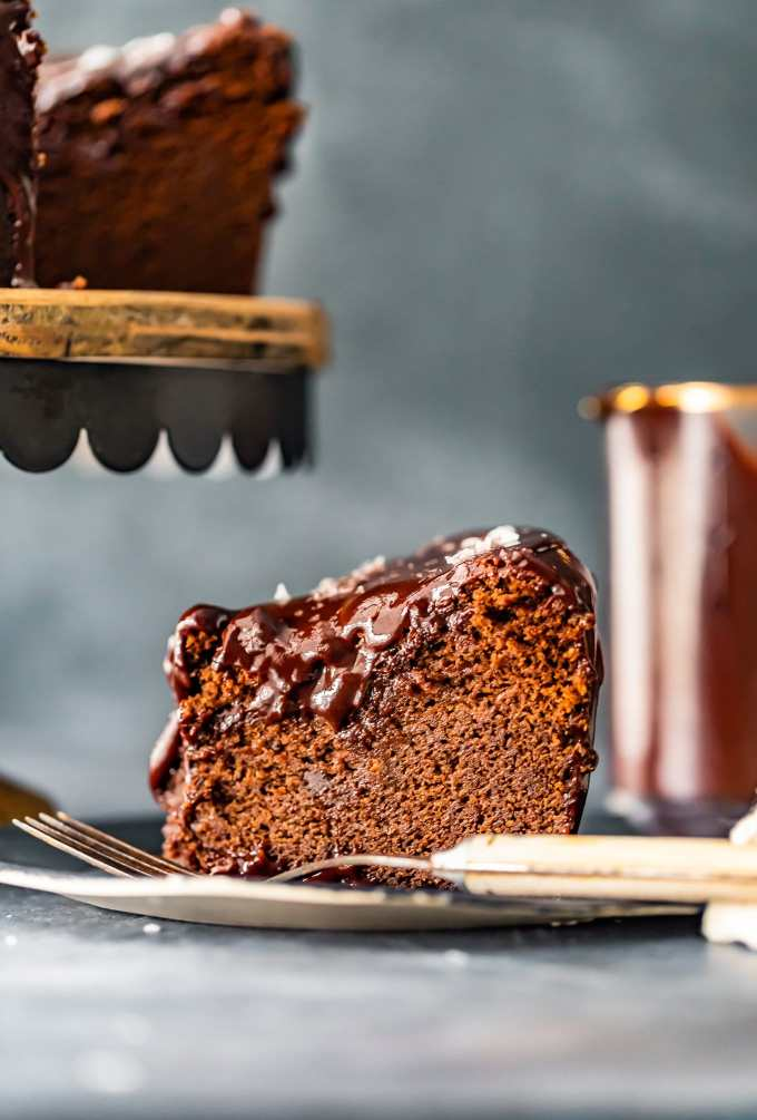 side view of a slice of chocolate cake on a plate