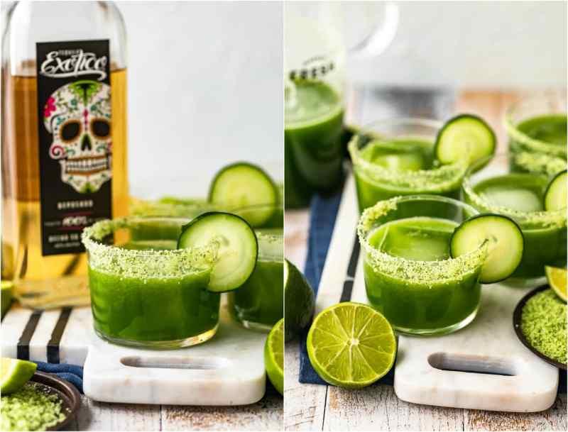 cucumber jalapeno margaritas in glasses rimmed with cilantro salt