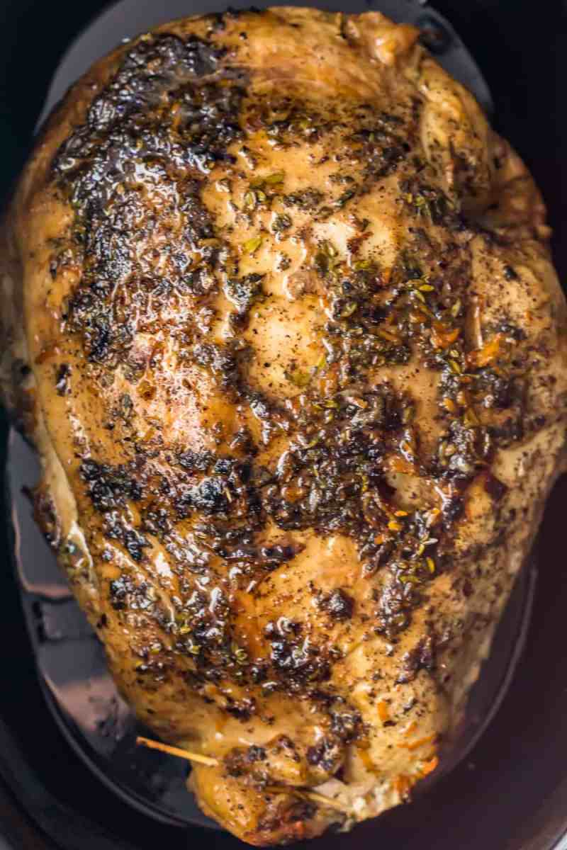 Close up of the cooked turkey breast