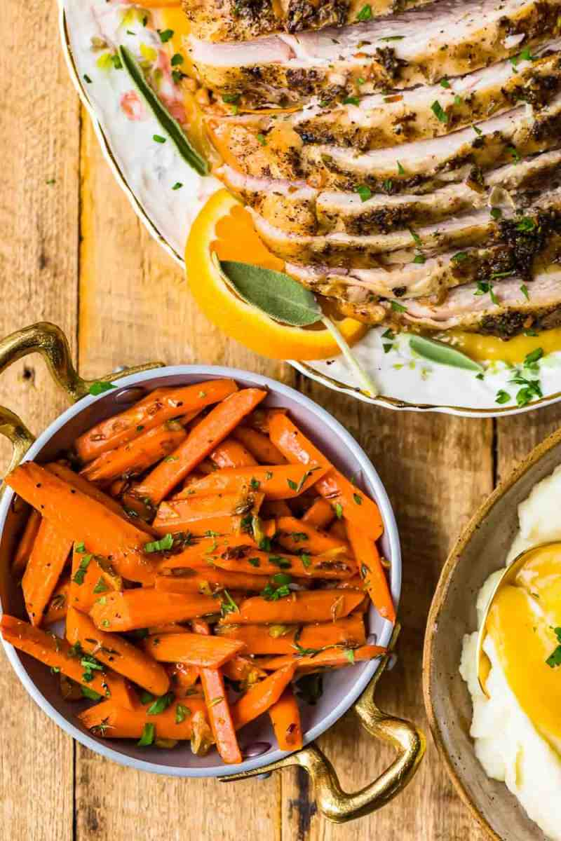Sauteed Carrots served with turkey breast