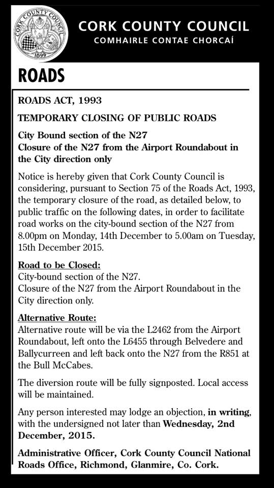 Cork's Airport Hill to close before Christmas