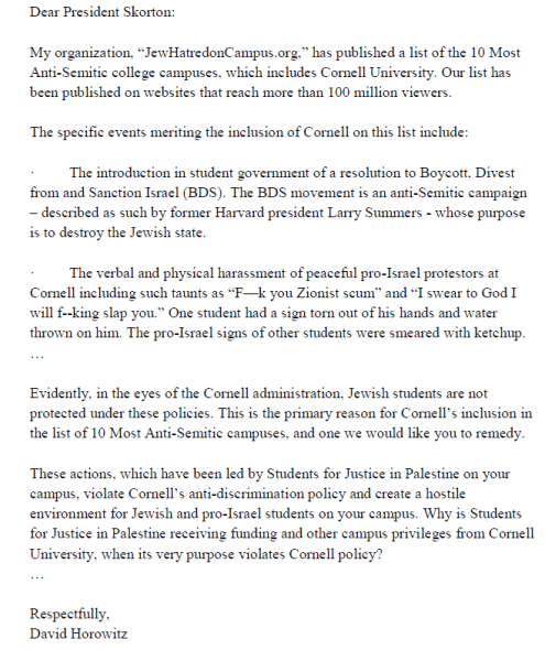 Horowitz Letter 1