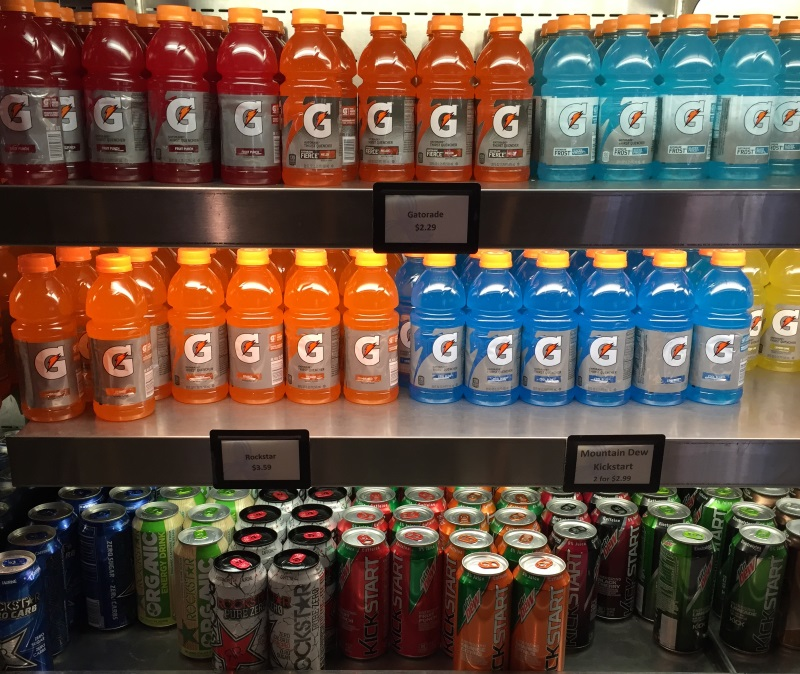 Drink choices at a Cornell dining location