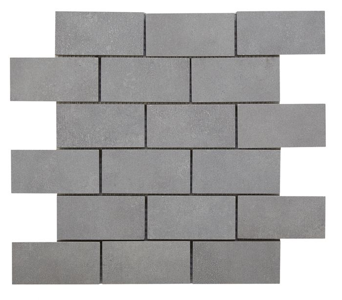 verona cemento light grey glazed porcelain brick mosaic 96x47mm p10475
