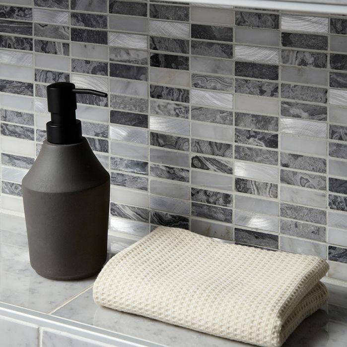 verona creswell grey glass stone metal mix linear mosaic 15x48mm g30209