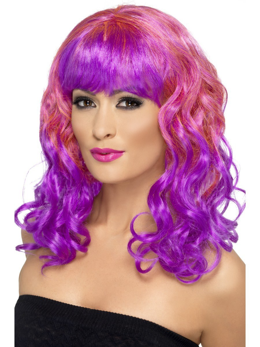 Curly Divatastic Purple Amp Pink Wig With Fringe