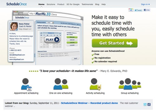 ANFSCD: ScheduleOnce: Take the work out of setting up meetings!