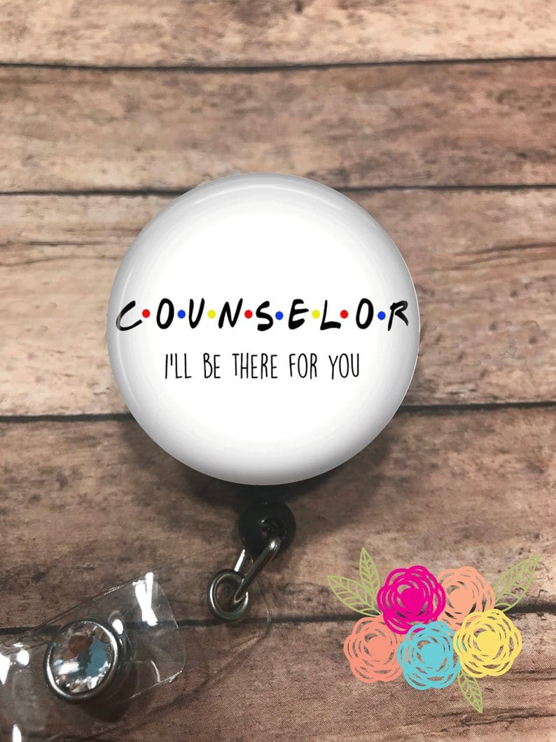 Counselor - badge reel - lanyard - stethoscope ID tag - retractable badge reel - badge clip