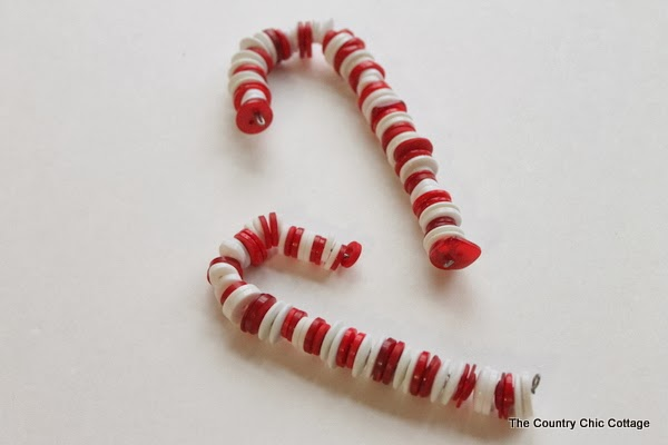 Button Candy Cane Christmas Ornaments The Country Chic Cottage