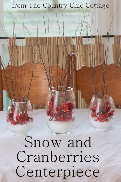 Snow And Cranberries Centerpiece The Country Chic Cottage