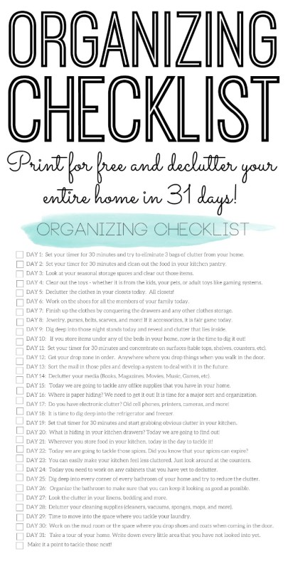 Organizing Checklist-Declutter Your Home in 31 Days by The Country Chic Cottage