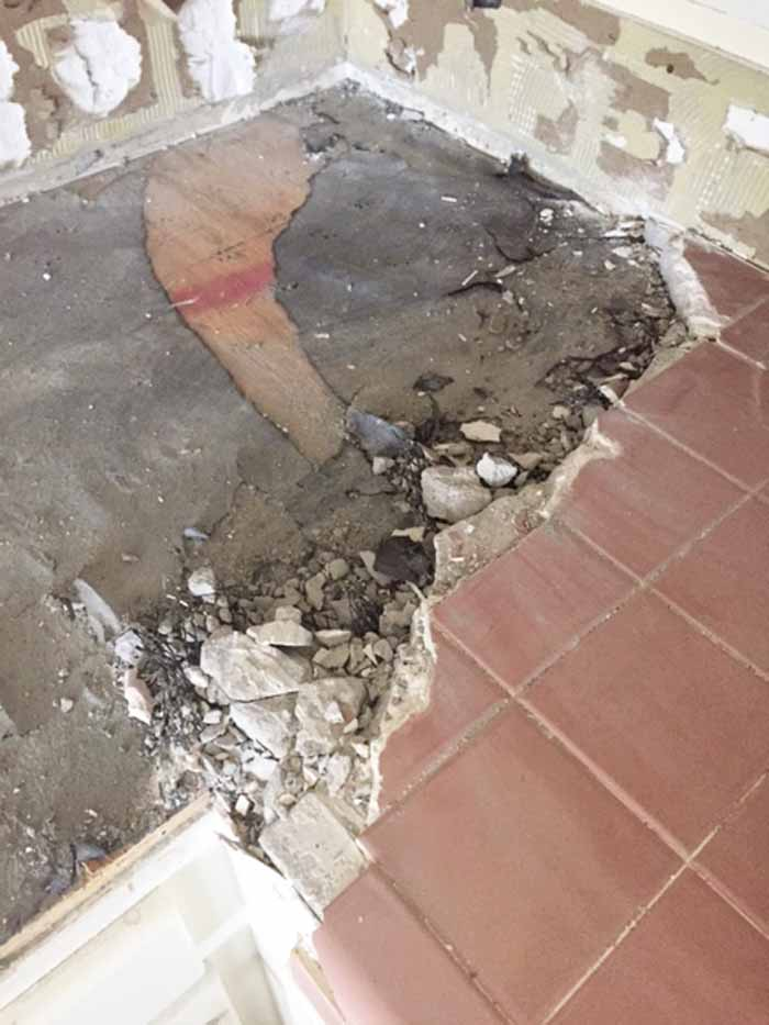 tile removal removing thick set tile