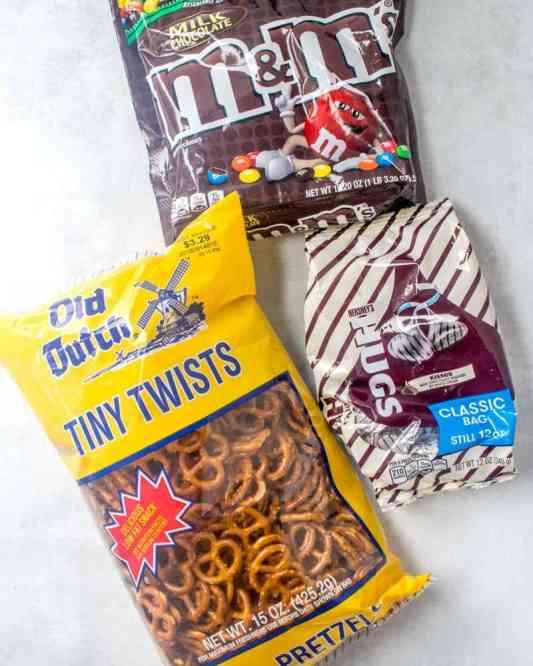mini salted pretzels, Hershey's Hugs, M&M chocolate candy