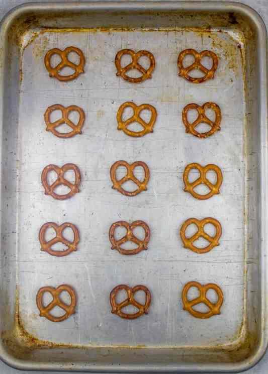 mini pretzel twists on cookie sheet