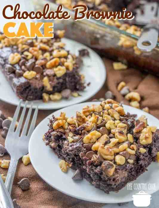 Easy Chocolate Brownie Cake recipe from The Country Cook
