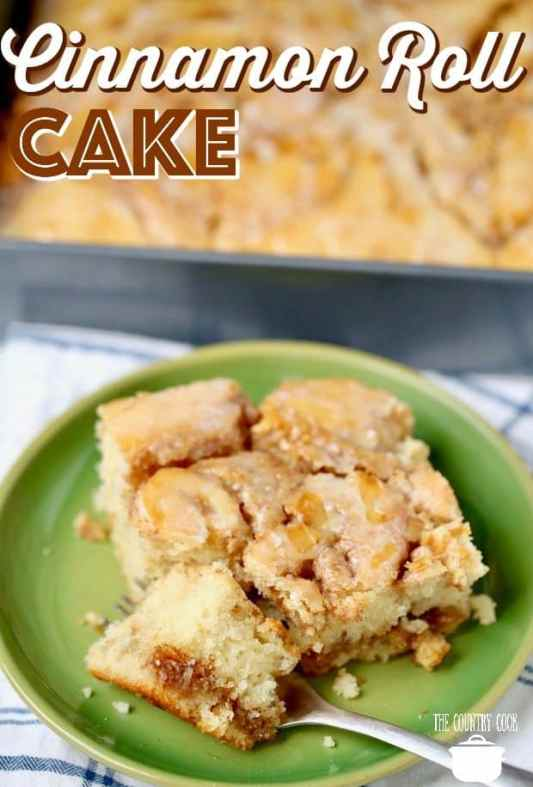 Cinnamon Roll Cake recipe from The Country Cook