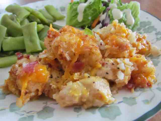 Crock Pot Cheesy Chicken Tater Tot Casserole - The Country Cook