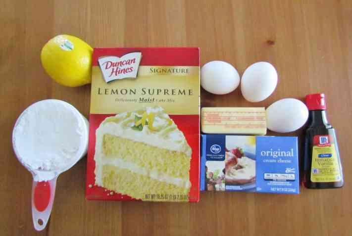 lemon cake mix, cream cheese, powdered sugar, butter, eggs, lemon, vanilla extract
