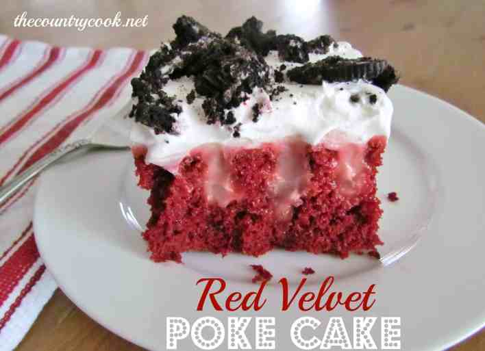 Red Velvet Poke Cake recipe from The Country Cook