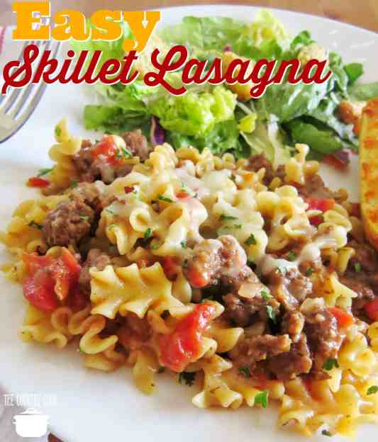 Easy Skillet Lasagna recipe from The Country Cook