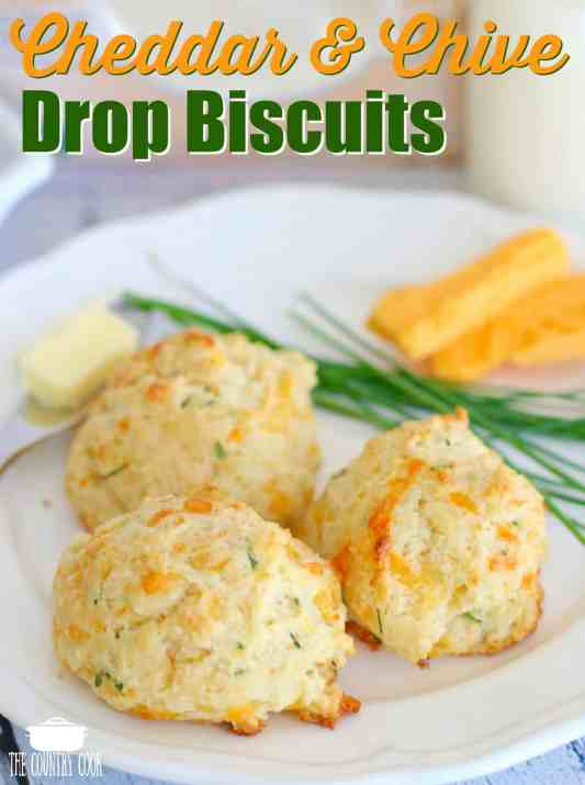 Cheddar and Chive Drop Biscuits recipe from The Country Cook