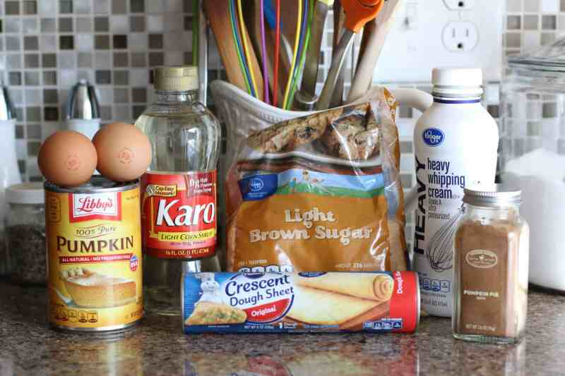 Pillsbury crescent dough bars, light brown sugar, pumpkin pie filling, karo corn syrup, eggs, heavy whipping cream