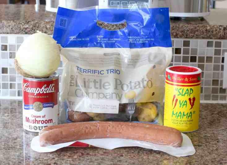 baby potatoes, cream of mushroom soup, kielbasa sausage, onion, cajun seasoning