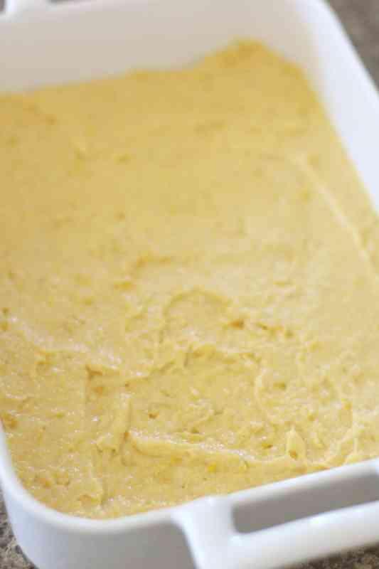 cornbread mix spread into baking dish