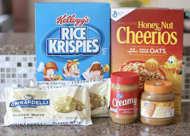Rice Krispies, Honey Nut Cheerios, white chocolate chips, creamy peanut butter, cookie butter