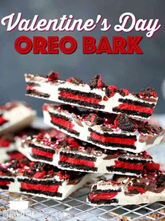 Valentine's Day inspired No Bake Oreo Bark, easy recipe