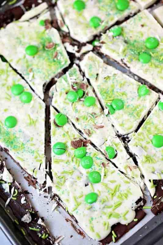 broken pieces of no-bake St. Patrick's Day Oreo bark