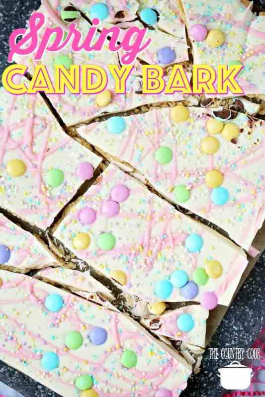 No Bake Spring Candy Bark recipe from The Country Cook