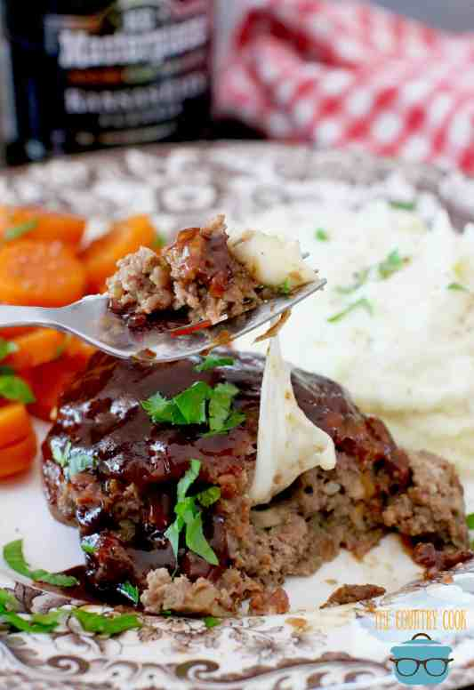 Mozarella Stuffed Meatloaf topped with BBQ sauce