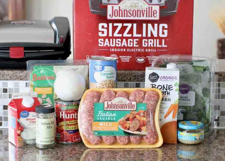 Italian sausage, fire roasted tomatoes, baby spinach, cheese tortellini, onion, garlic, chicken stock, Italian seasoning, cannelloni beans, heavy cream
