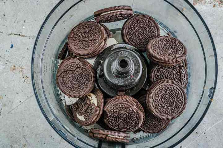 Oreo Cookies shown in a food processor