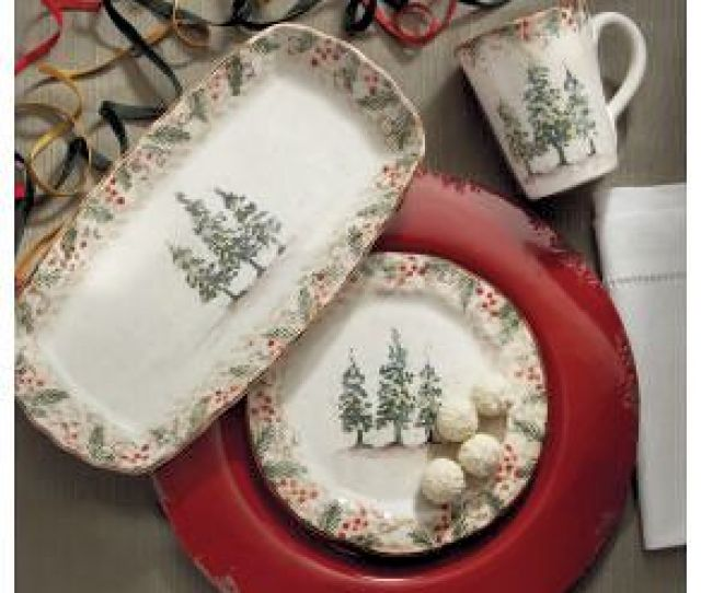 Setting A Christmas Or Winter Table With Classic Italian Dinnerware