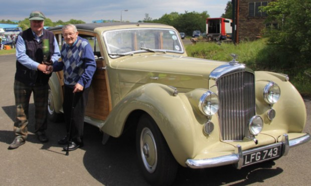 Jimmy Allison (right) is reunited with his old Bentley and its owner Allan Stewart.