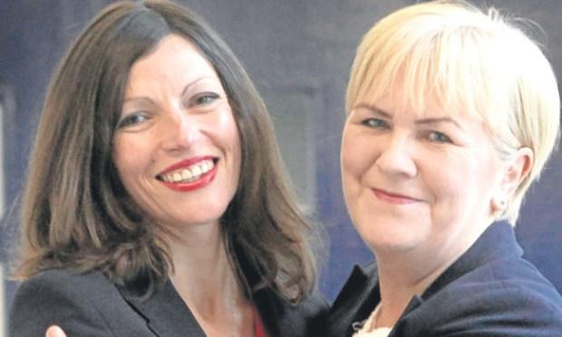 Cara Hilton is congratulated by party leader Johann Lamont.