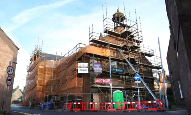 Glengate Hall is surrounded by scaffolding as work takes place on the exterior and interior of the building as part of the Kirriemuir CARS (Conservation Area Regeneration Scheme).
