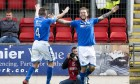 Stevie May celebrates after making it 2-0 against Dundee United.