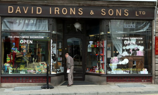 The David Irons & Sons shop in Castle Street, Forfar.