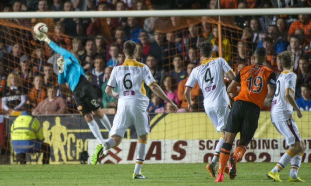 Dundee Utd new boy Mario Bilate sees his wonder strike find the net to give his side the win.