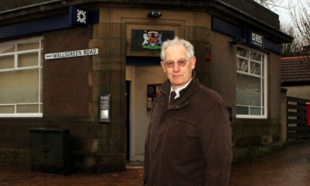 Mr Taylor outside the RBS branch in Wallsgreen Road which is due for closure.