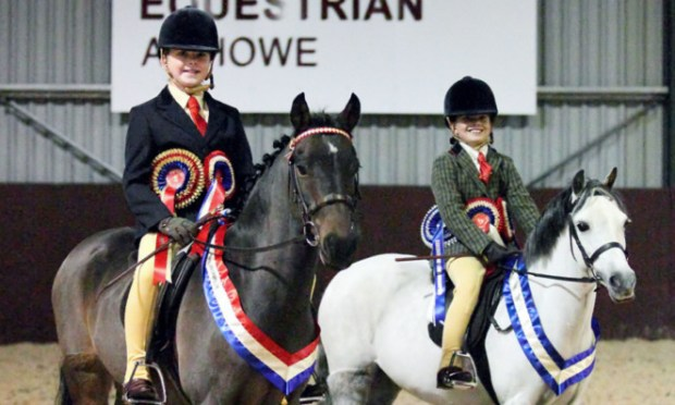 Supreme ridden champions Ami Conchie and Windswood Footprint with reserve supreme winners Jasmine Bleazard and thistledown Scots Haar