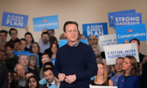 Prime Minister David Cameron addresses supporters and meets party members at a campaign event at the Dhamecha Lohana Centre in London.