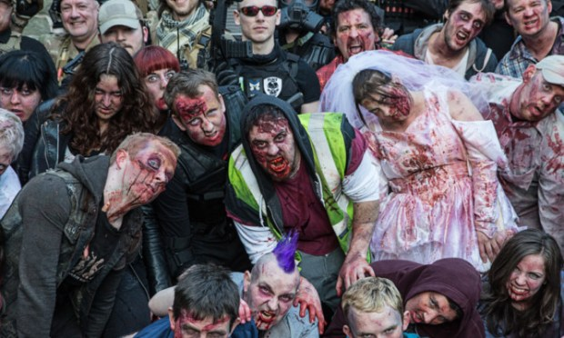 Zombie MAYhem descended on party revellers at Mains Castle in Dundee. 200 fright-night enthusiasts attempted to avoid capture by the evil entities.