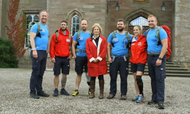 Lady Stormont with the Walking With The Wounded walkers at Scone Palace. The walkers will be joined on the route by Prince Harry, the charitys patron.