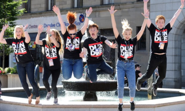 Welcoming the new faces in Dundee City Square are, from left, Catherine Higgins, Caitlin MacLeod, Jodie Robb, Callan Biddie, Mhairi Cormack and Liam Graham.